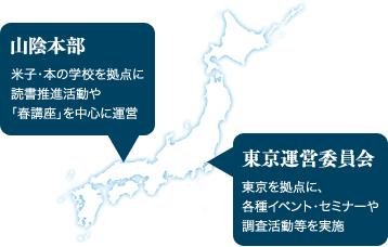 【山陰本部】米子・本の学校を拠点に読書推進活動や「春講座」を中心に運営【東京運営委員会】東京を拠点に、各種イベント・セミナーや調査活動等を実施